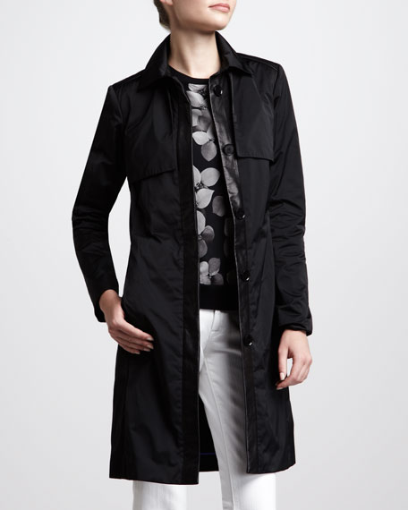 Techno-Satin Trenchcoat