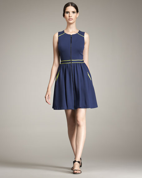 Techno Jersey Dress With Contrast Trim