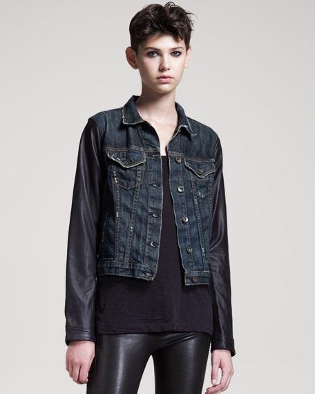 Distressed Leather-Sleeve Jean Jacket