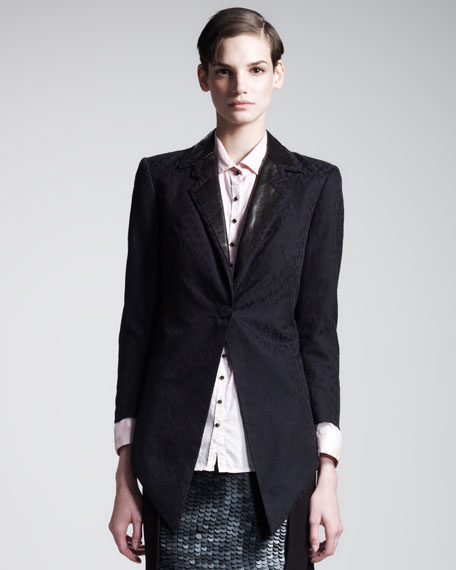 Metropolis Leather-Lapel Tuxedo Jacket