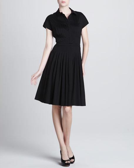 Pleated Poplin Dress