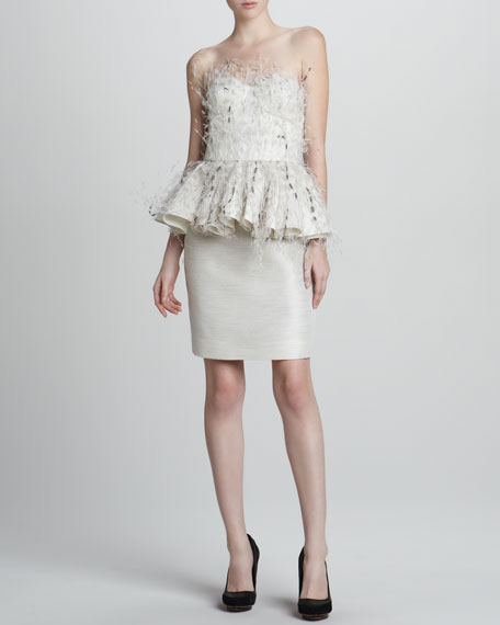 Feathered Strapless Cocktail Dress