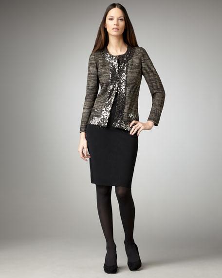 Sequin-Trim Metallic Jacket, Women's