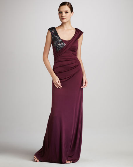 Sleeveless Gown with Beaded Embellishment