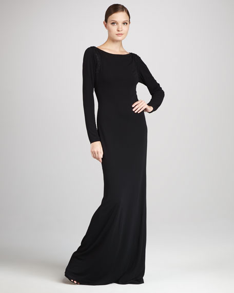 Long-Sleeve Gown with Beaded Back