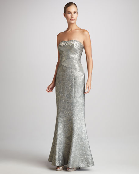 Strapless Jacquard Gown