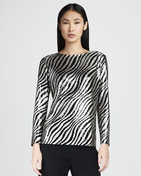 Sequined Zebra-Print Top