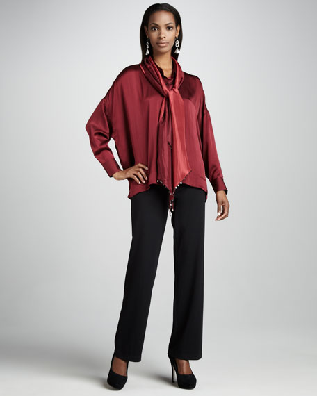 Hammered Satin Button-Front Shirt, Petite