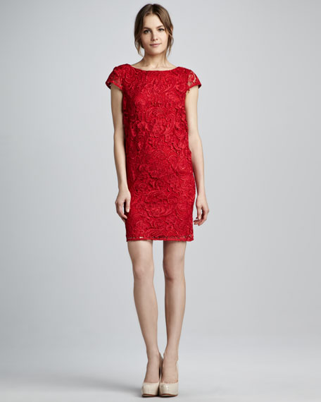 Lace Scoop-Back Shift Dress