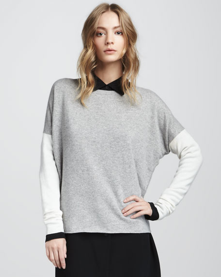 Colorblock Sweater, Steel