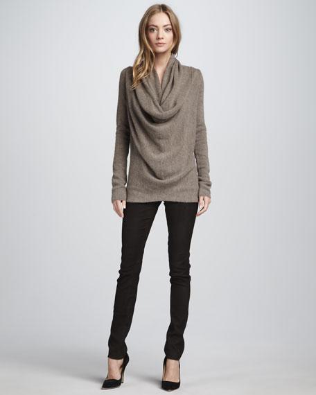 Textured Leather Jeans, Dark Brown