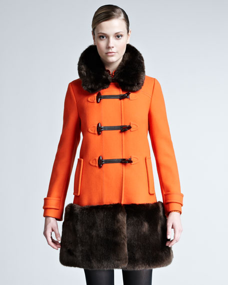 Allie Faux-Fur-Trim Colorblock Coat