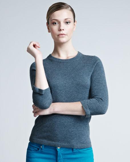 arianna merino-cashmere sweater, gray melange