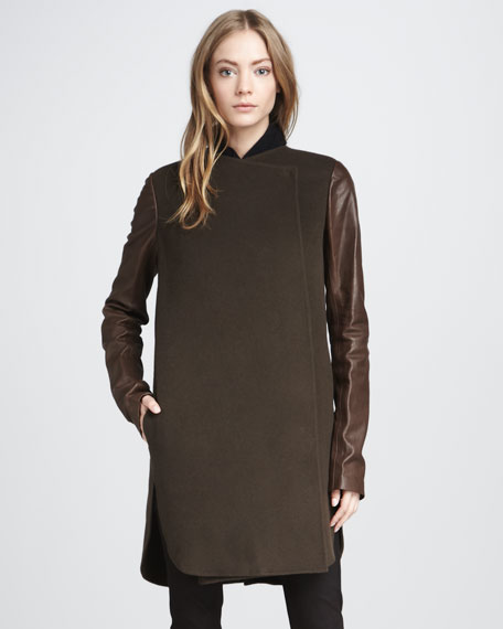 Leather-Sleeve Coat