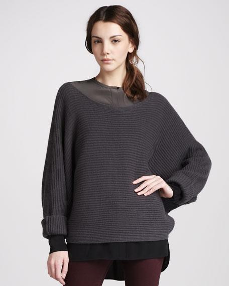 Ribbed Boat-Neck Sweater, Elephant