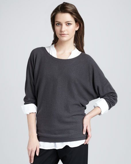 V-Back Cashmere Sweater, Elephant