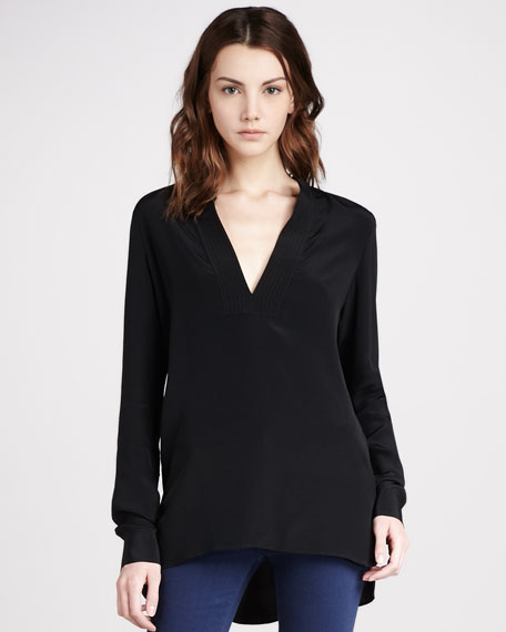 Trapunto-Placket Top, Black