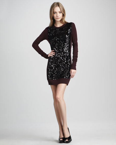 Danette Sequined Knit Long-Sleeve Dress