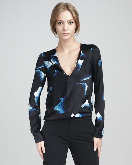 New Issie Hammered Satin Long-Sleeve Top