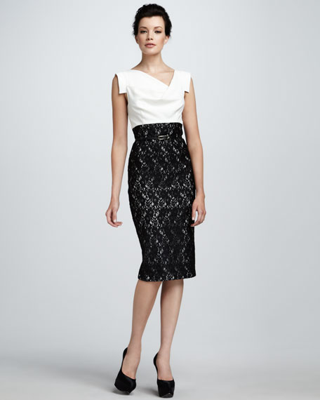 Jackie Lace-Skirt Sheath Dress