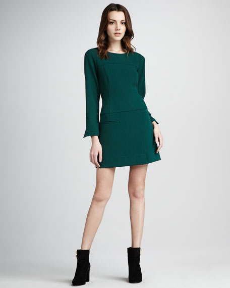 Adelia Long-Sleeve Shift Dress