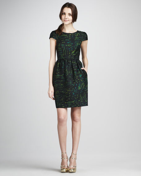 Antonia Cap-Sleeve Printed Dress