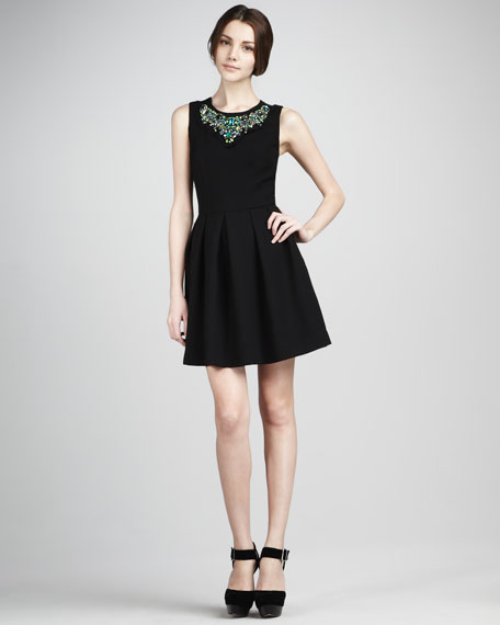 Bead-Neck Full-Skirt Dress