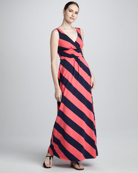 Sloane Bias-Striped Maxi Dress