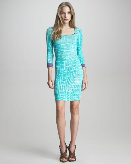 Crocodile-Print Knit Sheath Dress