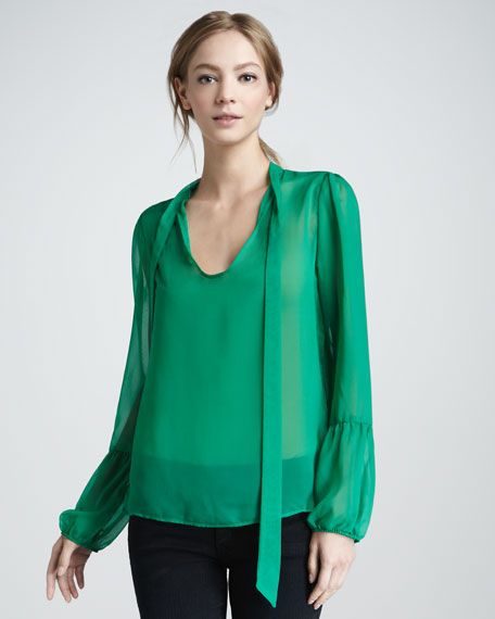 Yardley Tie-Neck Blouse