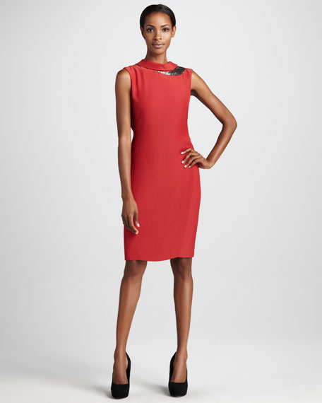 Sequined-Trim Sheath Dress