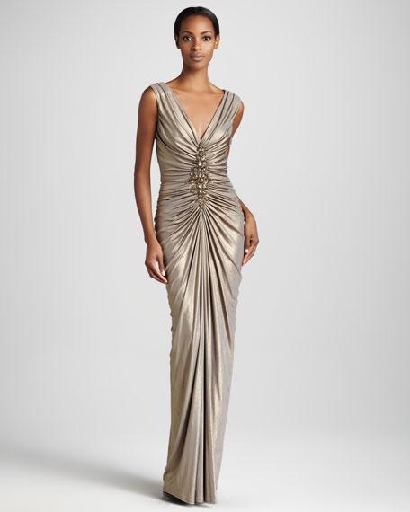 Sleeveless V Neck Metallic Gown