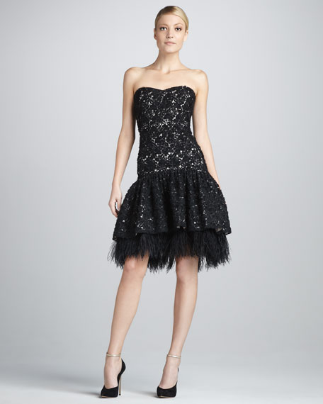 Strapless Lace-Feather Cocktail Dress