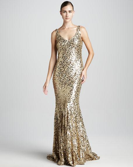 Metallic Sequined Mermaid Gown