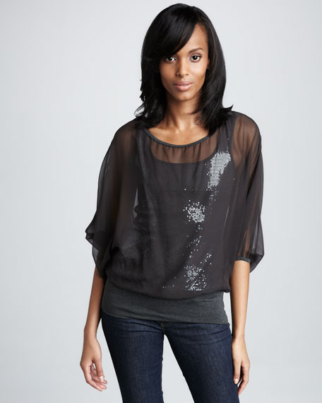 Overlay Sequined Top