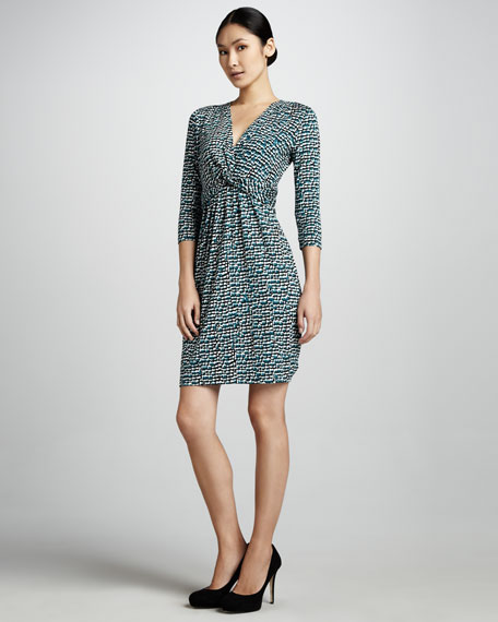 Printed Twisted-Front Dress