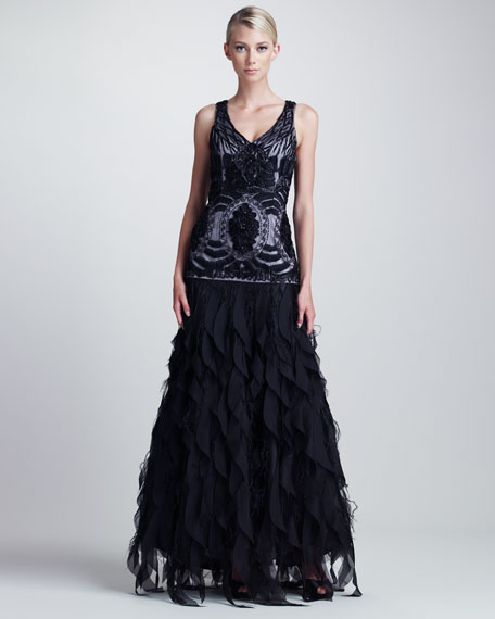 Embroidered Ruffled Gown