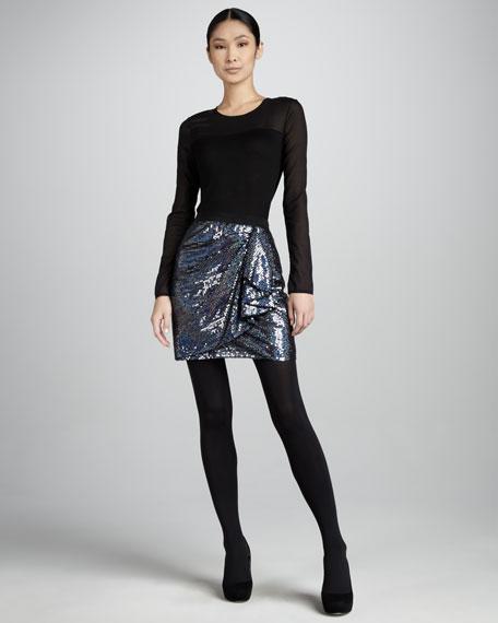 Draped Sequined Skirt