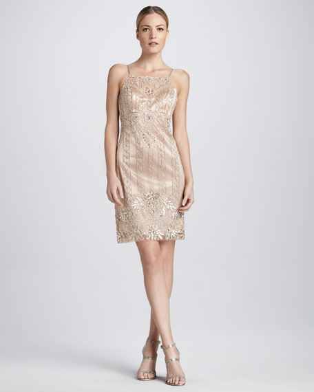 Beaded Cocktail Dress with Spaghetti Straps