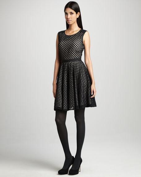 Lace-Dot Grosgrain-Trim Dress