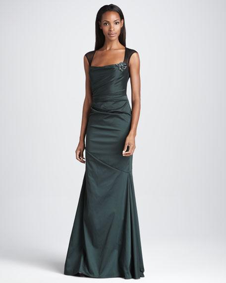 Cap-Sleeve Taffeta Gown