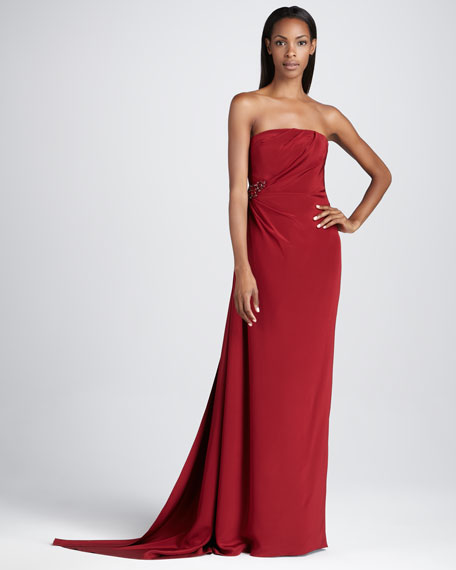 Strapless Gown with Beaded Embellishment