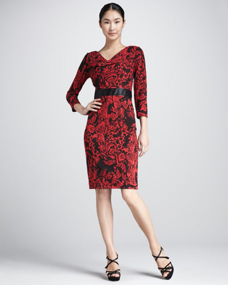 Floral-Print Cowl-Neck Dress