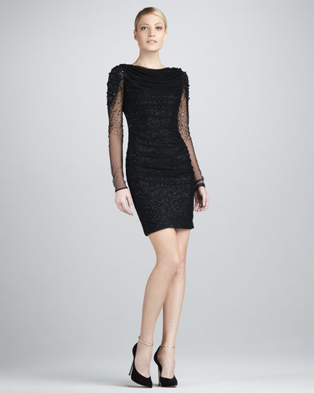 Beaded Illusion-Sleeve Cocktail Dress