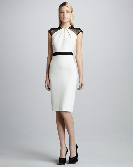 Bead-Sleeve Belted Cocktail Dress