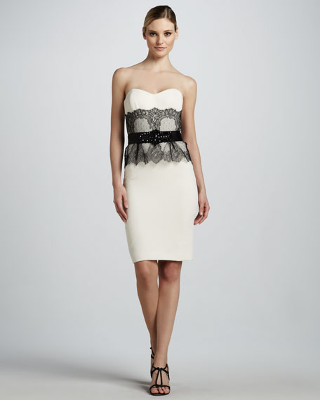 Strapless Cocktail Dress with Lace