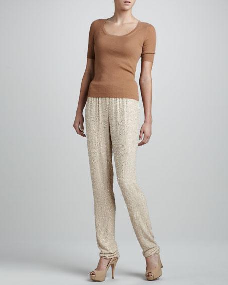 Crystal-Stud Silk Pants