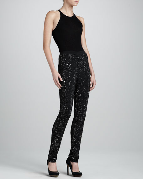 Crystal-Stud Jersey Pants, Black