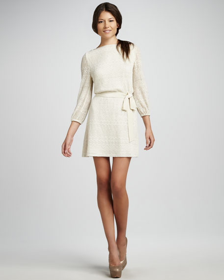 Sparkle-Knit Belted Dress