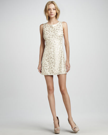 Sleeveless Sequin-Lace Dress